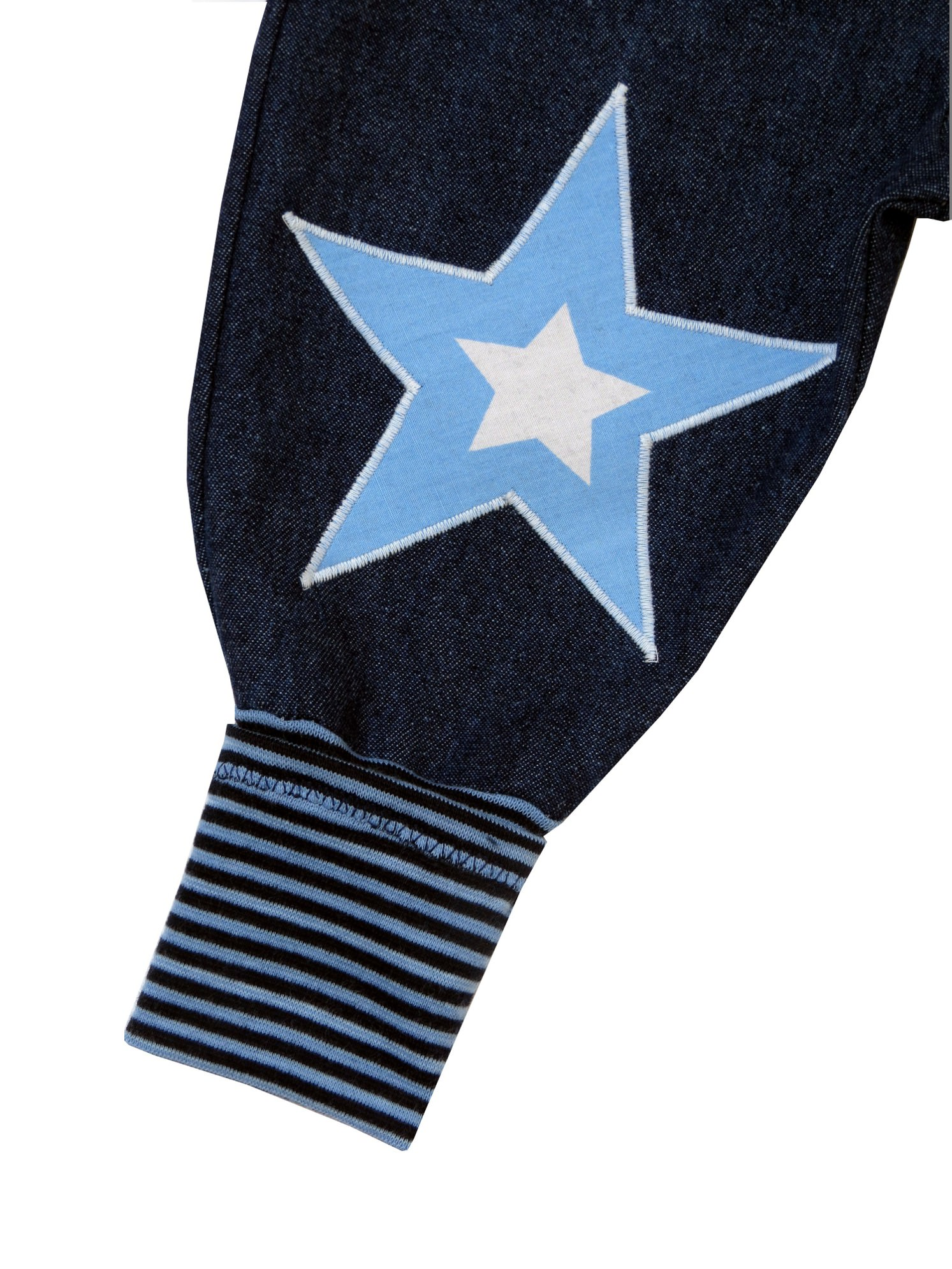 Kleinesbild - Jeans Mitwachshose Stern blau Babyhose Hose Pumphose