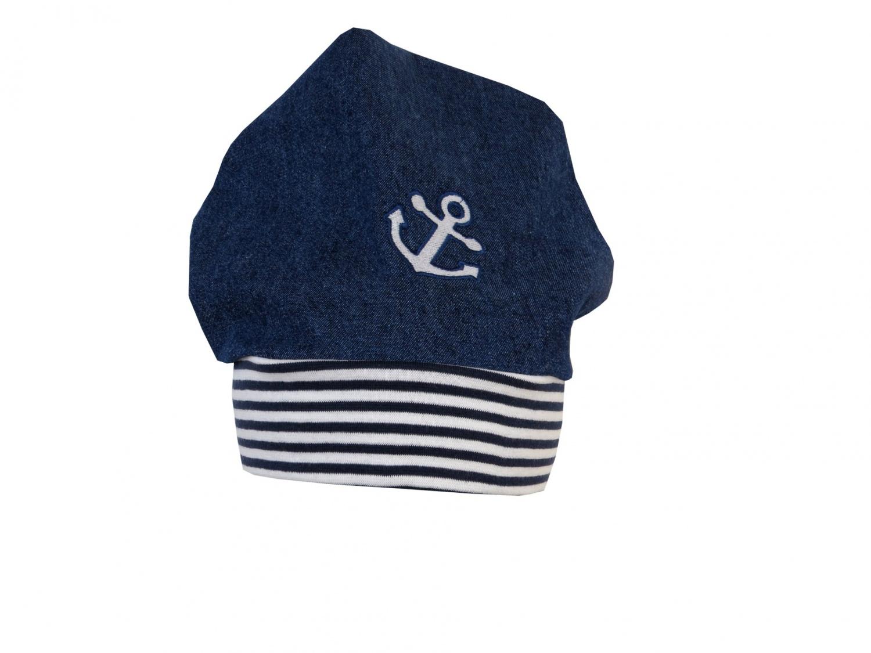 Kleinesbild - Süße Jeans Mütze Beanie für coole Kids mit Anker