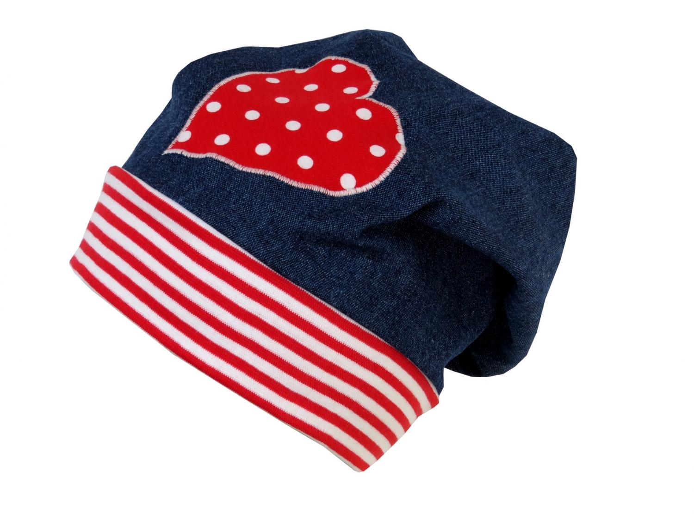 - Süße Jeans Mütze Beanie für kleine Mädchen in blau und rot - Süße Jeans Mütze Beanie für kleine Mädchen in blau und rot