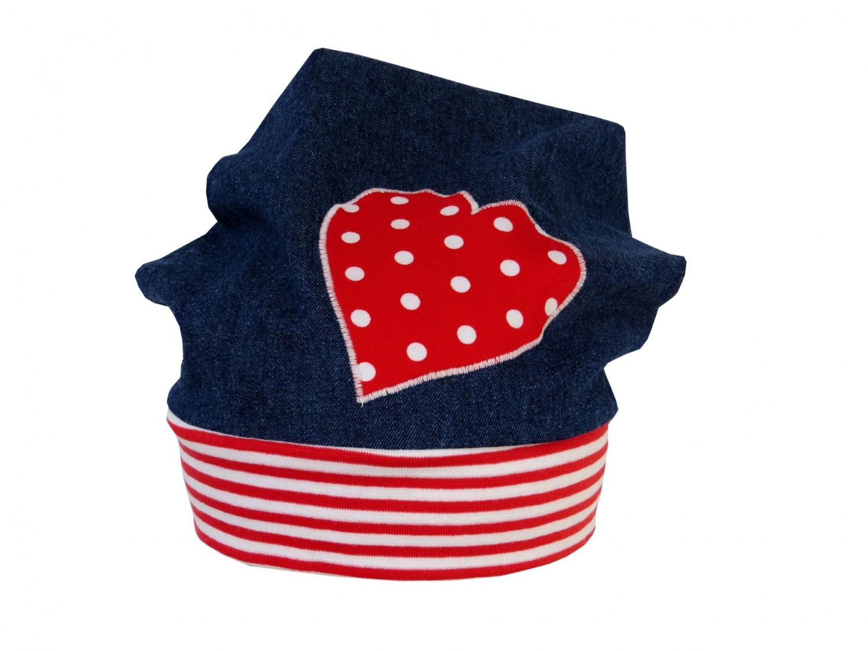 Kleinesbild - Süße Jeans Mütze Beanie für kleine Mädchen in blau und rot