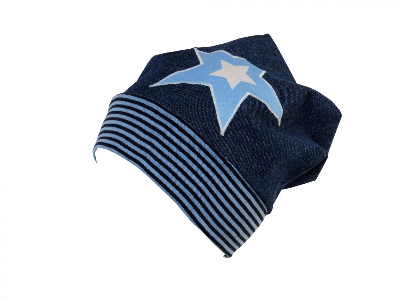 - Süße Jeans Mütze Beanie für coole Kids mit Stern - Süße Jeans Mütze Beanie für coole Kids mit Stern