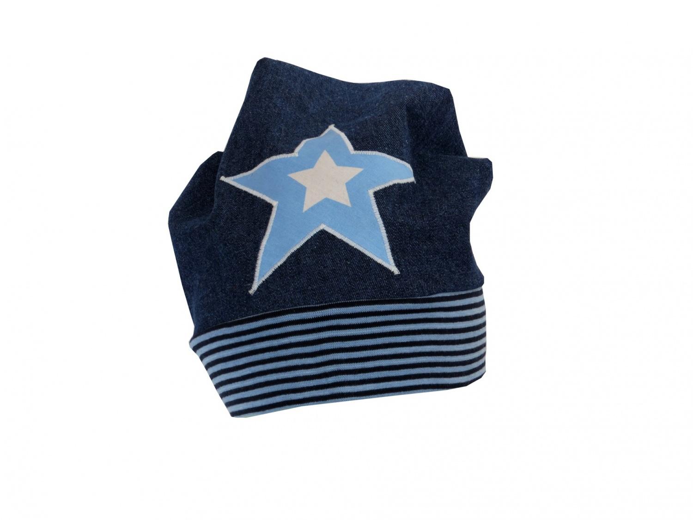 Kleinesbild - Süße Jeans Mütze Beanie für coole Kids mit Stern