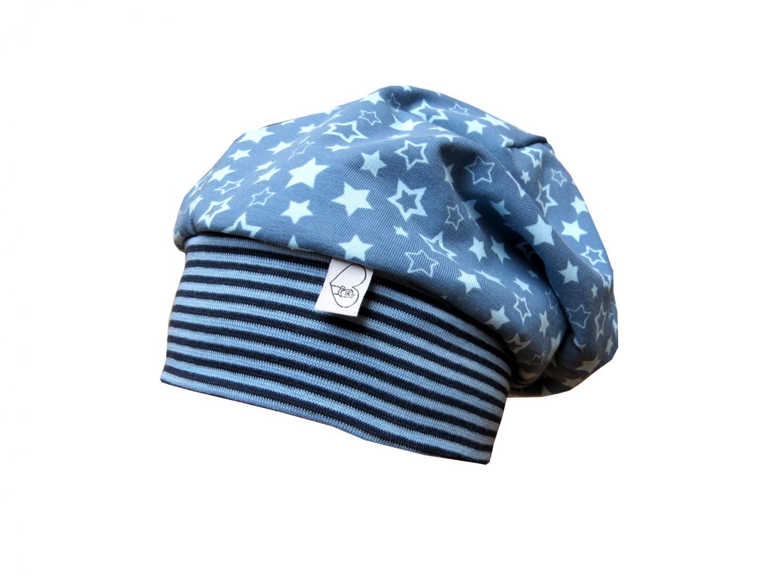 - Mütze Beanie in blau mit Sternen für Jungs und Mädchen - Mütze Beanie in blau mit Sternen für Jungs und Mädchen