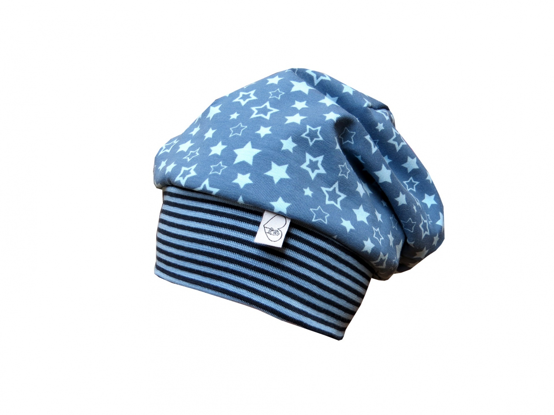 Kleinesbild - Mütze Beanie in blau mit Sternen für Jungs und Mädchen