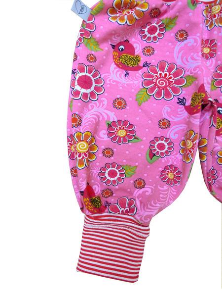 Kleinesbild - Mitwachshose Vögel Blumen Hose Pumphose rosa Babyhose