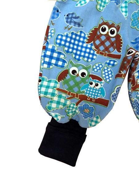Kleinesbild - Mitwachshose Eulen Hose Pumphose blau Babyhose