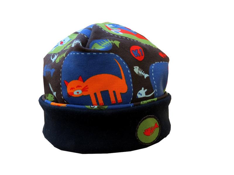 - Mütze anthrazit mit lustigen Katzen Babymütze - Mütze anthrazit mit lustigen Katzen Babymütze