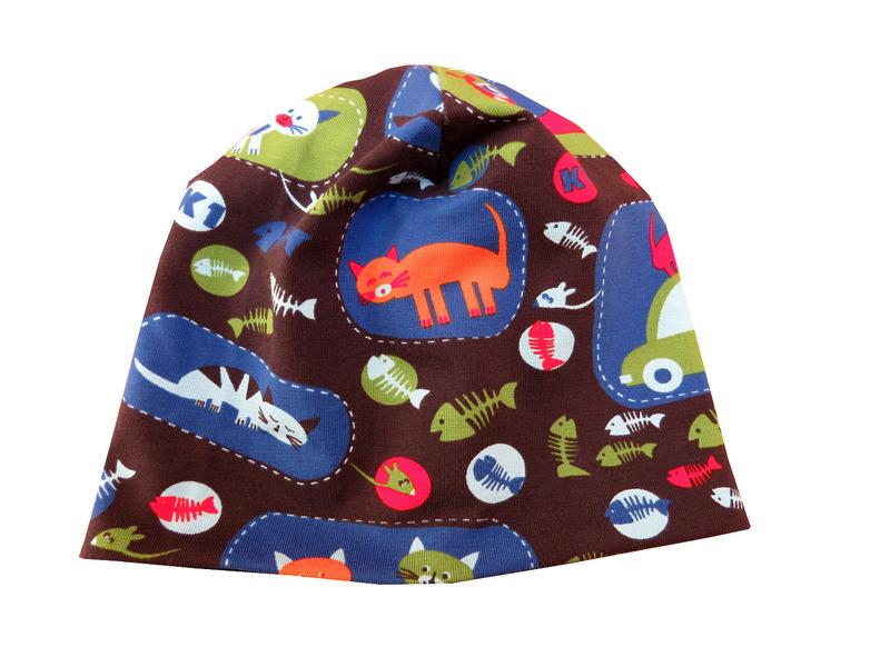 Kleinesbild - Mütze anthrazit mit lustigen Katzen Babymütze