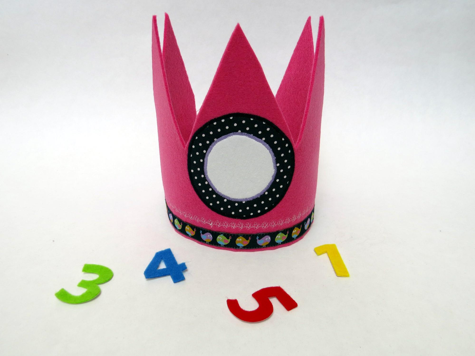 Kleinesbild - Süße Geburtstagskrone Krone für Mädchen in blau pink mit Vögelchen
