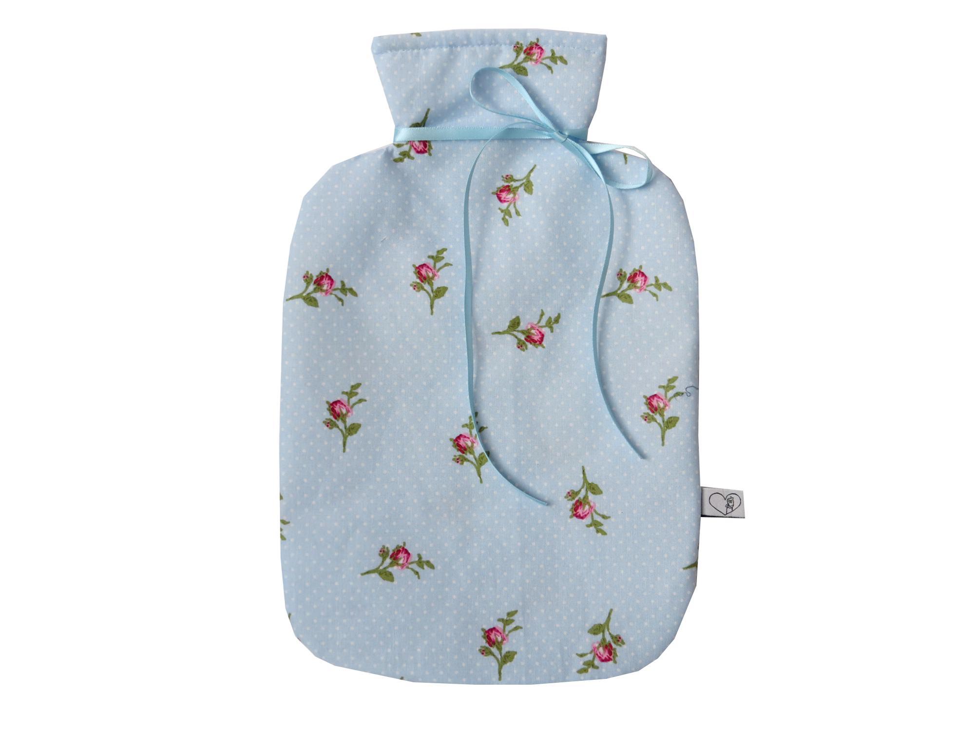 - Wärmflaschenbezug hellblau mit Rosen für 2l Wärmflasche - Wärmflaschenbezug hellblau mit Rosen für 2l Wärmflasche