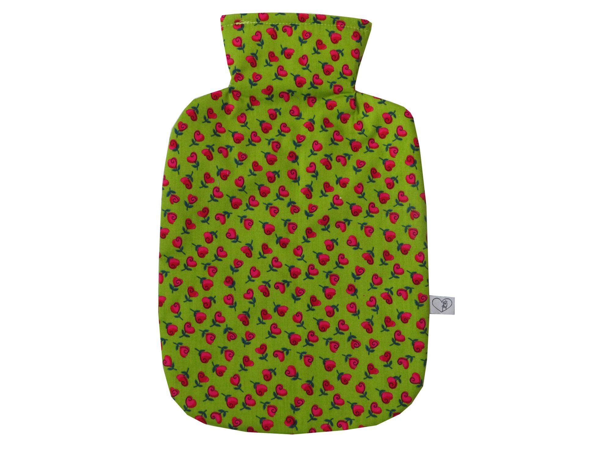 - Wärmflaschenbezug hellgrün mit Herzblumen für 2l Wärmflasche - Wärmflaschenbezug hellgrün mit Herzblumen für 2l Wärmflasche