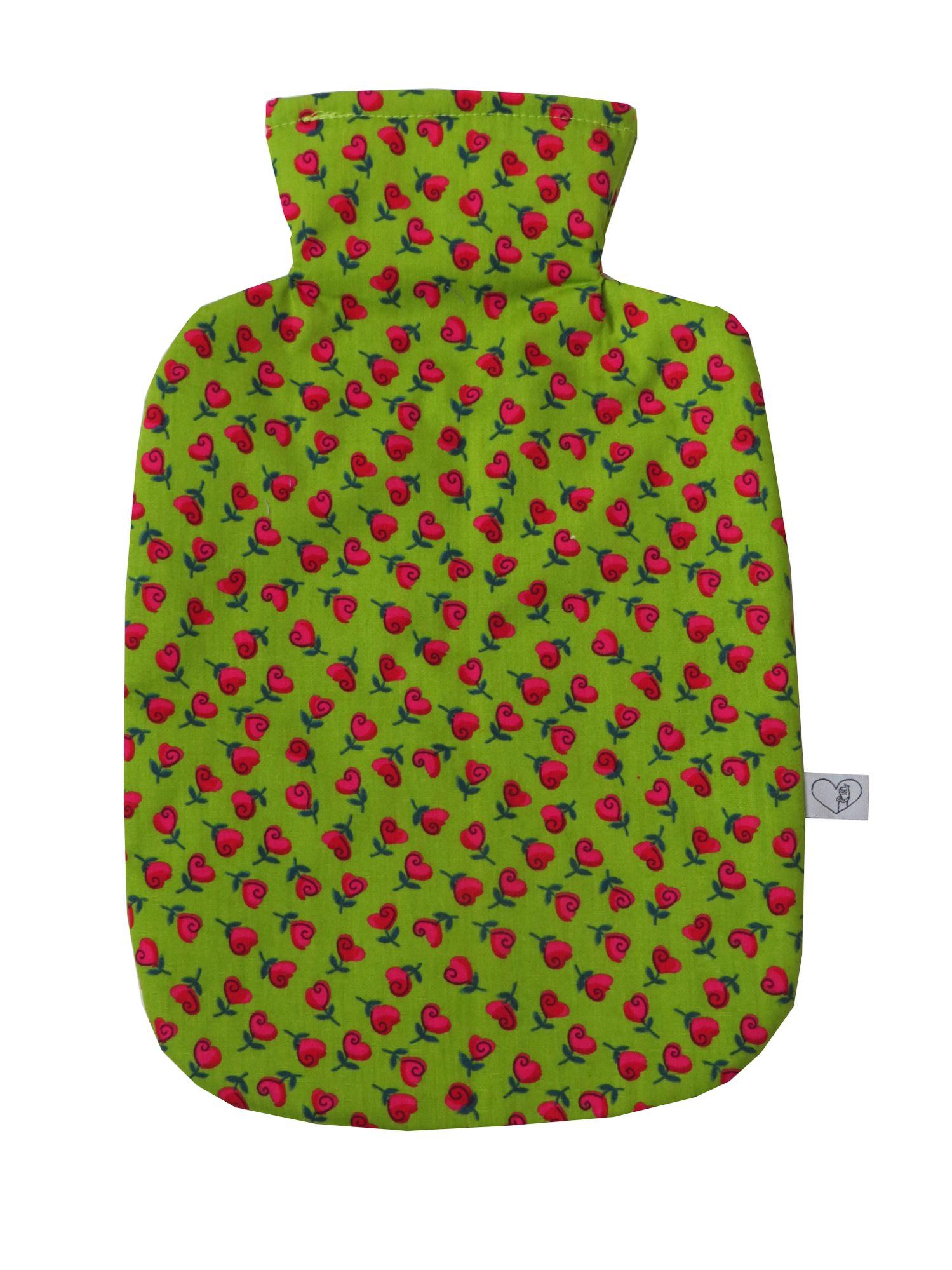 Kleinesbild - Wärmflaschenbezug hellgrün mit Herzblumen für 2l Wärmflasche