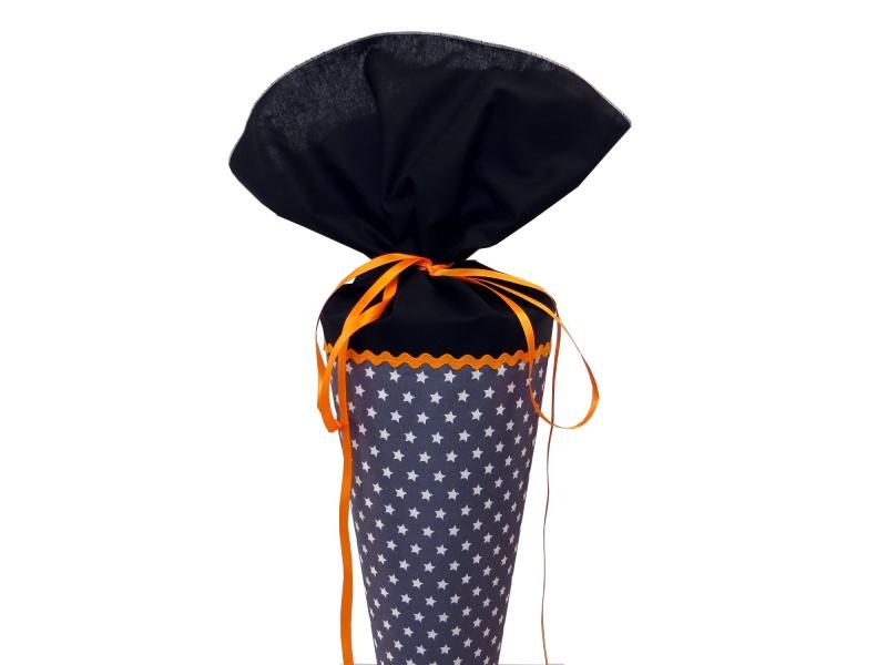 - Schultüte aus Stoff in grau, schwarz und orange mit weißen Sternen - Schultüte aus Stoff in grau, schwarz und orange mit weißen Sternen