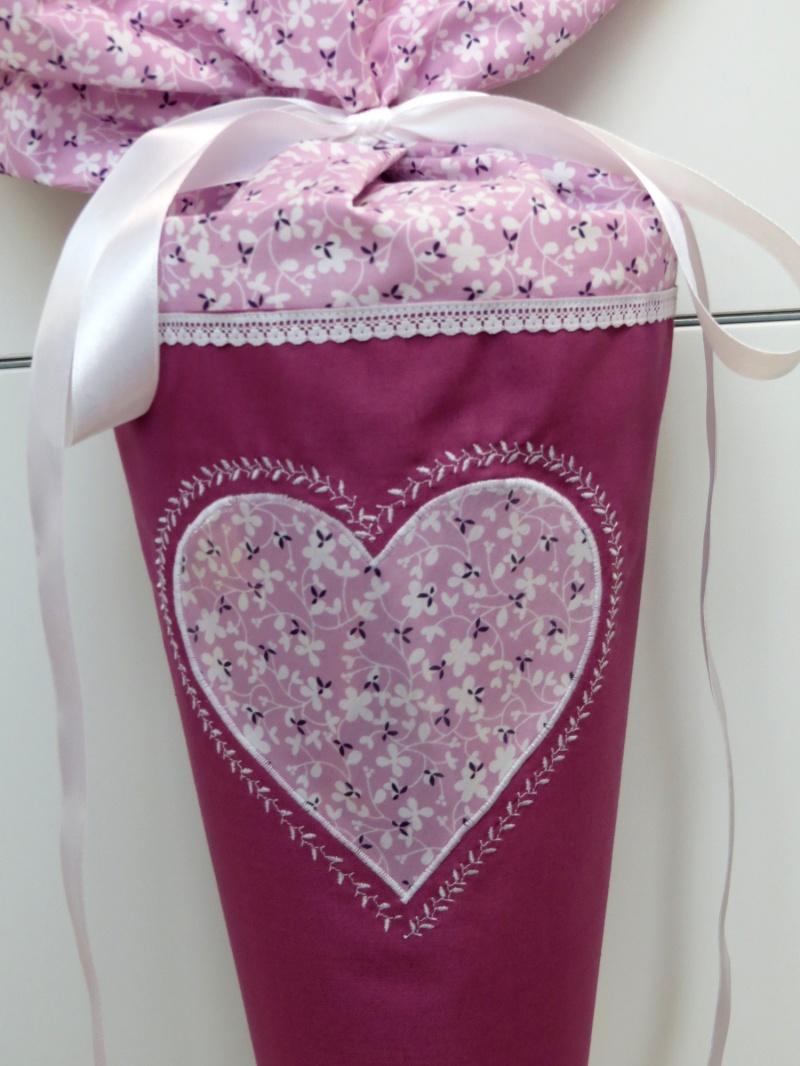 Kleinesbild - Schultüte aus Stoff Herz für FOTO Zuckertüte für Mädchen