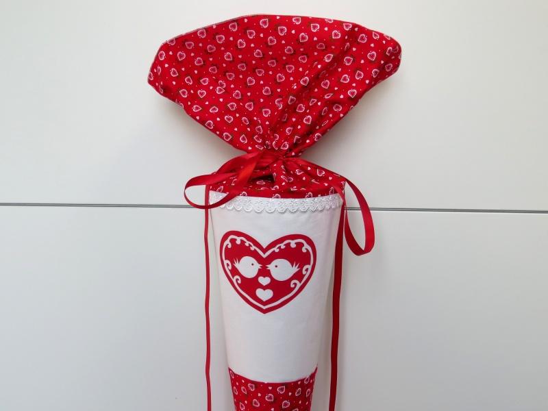 Kinder : Schultüte aus Stoff Vögelchen Herz in rot weiß Zuckertüte ...
