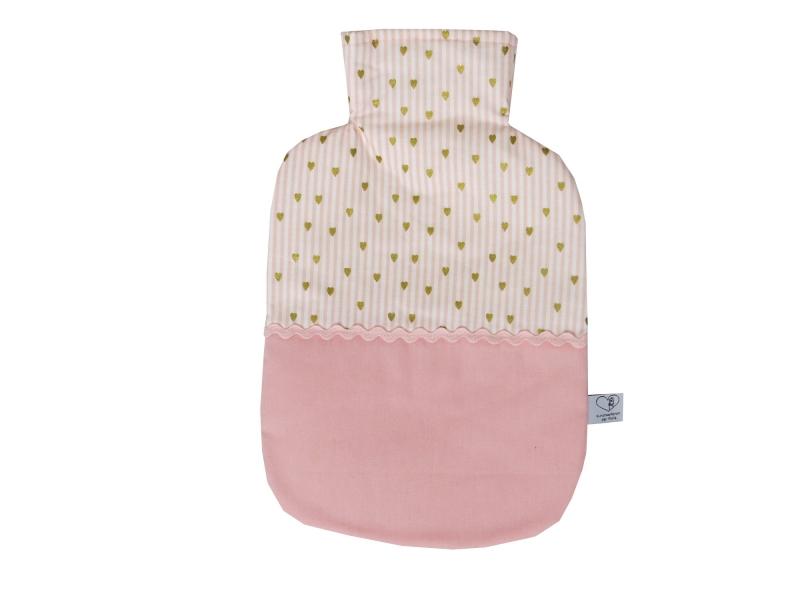 - Wärmflaschenbezug in rosa und weiß mit Herzen für 2l Wärmflasche    - Wärmflaschenbezug in rosa und weiß mit Herzen für 2l Wärmflasche