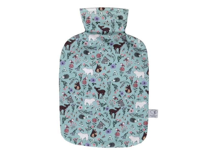 - Wärmflaschenbezug in hellblau mit Waldtieren für 2l Wärmflasche     - Wärmflaschenbezug in hellblau mit Waldtieren für 2l Wärmflasche