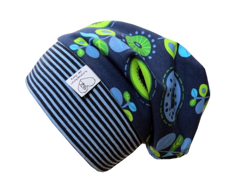 - Mütze Beanie in blau und grün mit Blumen für Mädchen Babymütze Kindermütze   - Mütze Beanie in blau und grün mit Blumen für Mädchen Babymütze Kindermütze