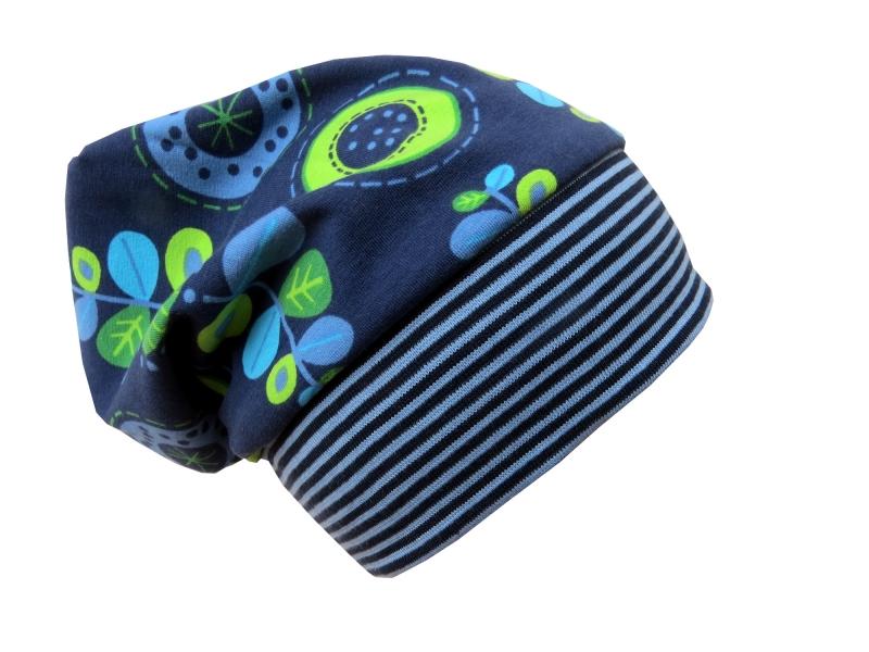 Kleinesbild - Mütze Beanie in blau und grün mit Blumen für Mädchen Babymütze Kindermütze