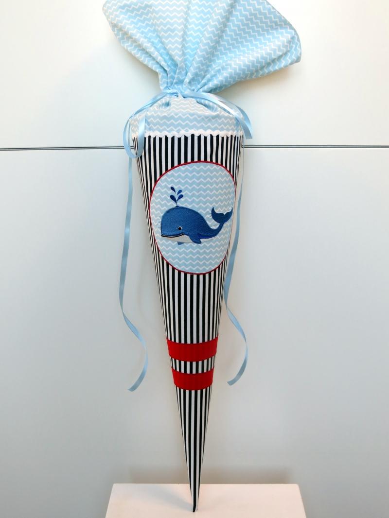 Kleinesbild - Schultüte Zuckertüte aus Stoff Wal für Mädchen und Jungen