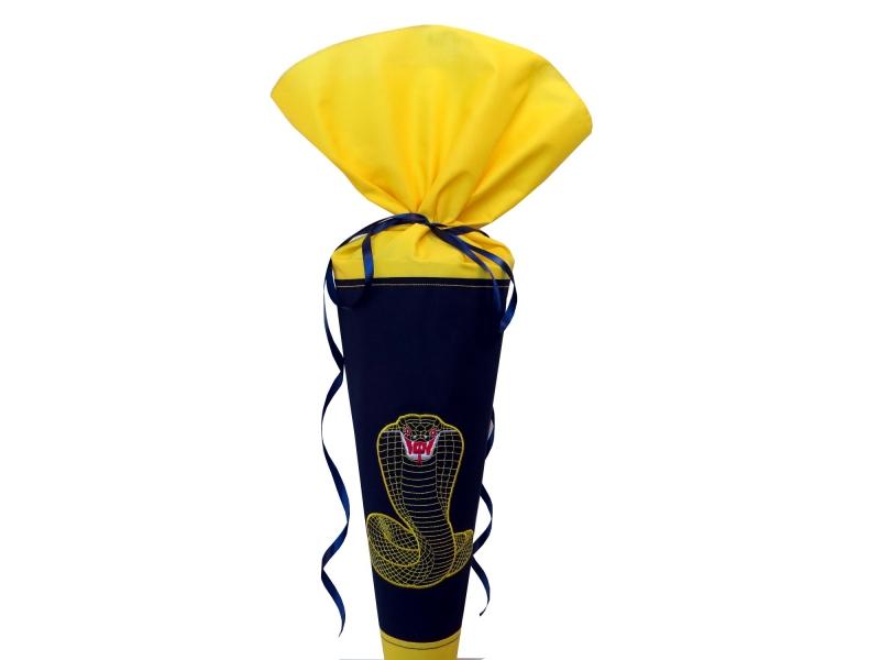 - Schultüte Zuckertüte aus Stoff Kobra in blau und gelb für Jungen    - Schultüte Zuckertüte aus Stoff Kobra in blau und gelb für Jungen