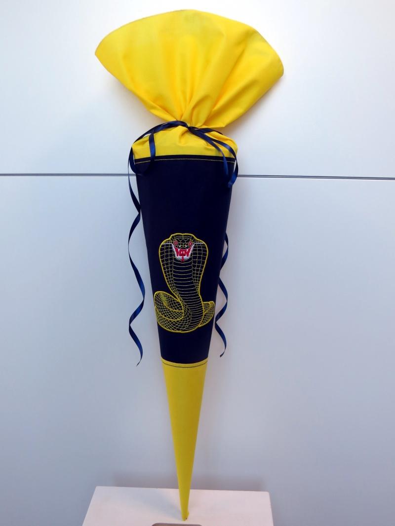 Kleinesbild - Schultüte Zuckertüte aus Stoff Kobra in blau und gelb für Jungen