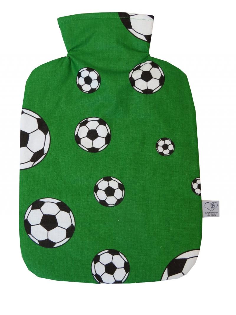 Kleinesbild - Wärmflaschenbezug mit Namen Fußball in grün Polizei für 2l Wärmflasche