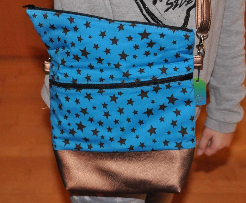 Kleinesbild - Fold-over Handtasche, türkis-bronze, klein