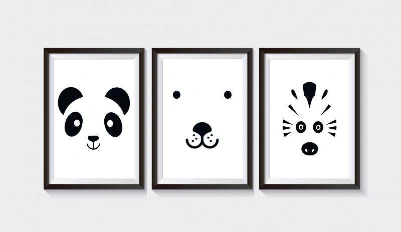 kinder 3 poster bilder kinderzimmer tiere. Black Bedroom Furniture Sets. Home Design Ideas