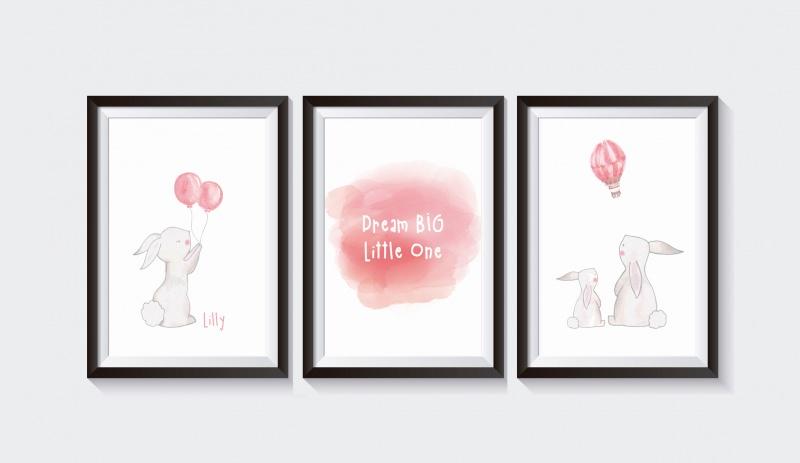 Kinder 3 Poster Bilder Kinderzimmer Aquarell Hase Pastell