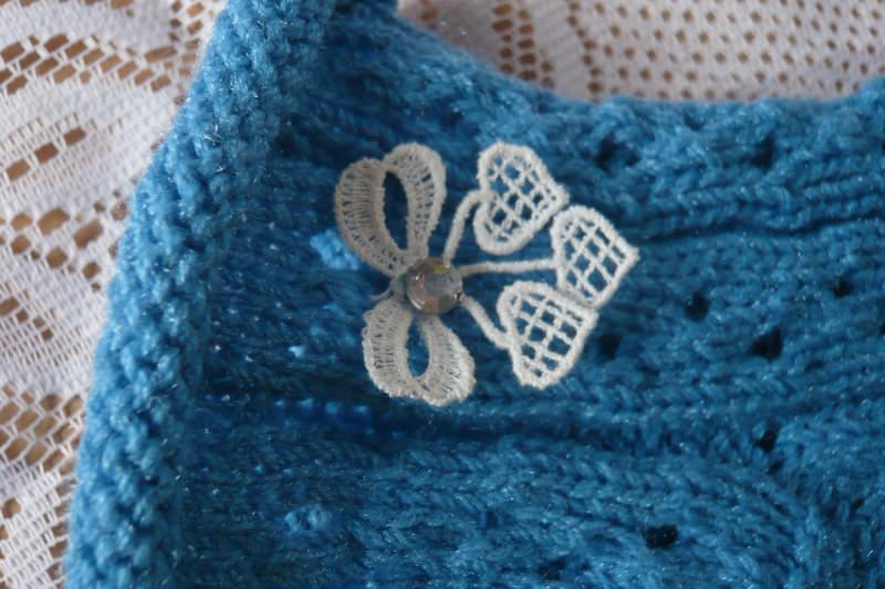 Kleinesbild - Romantische blaue handgestrickte Sommersöckchen Gr.39