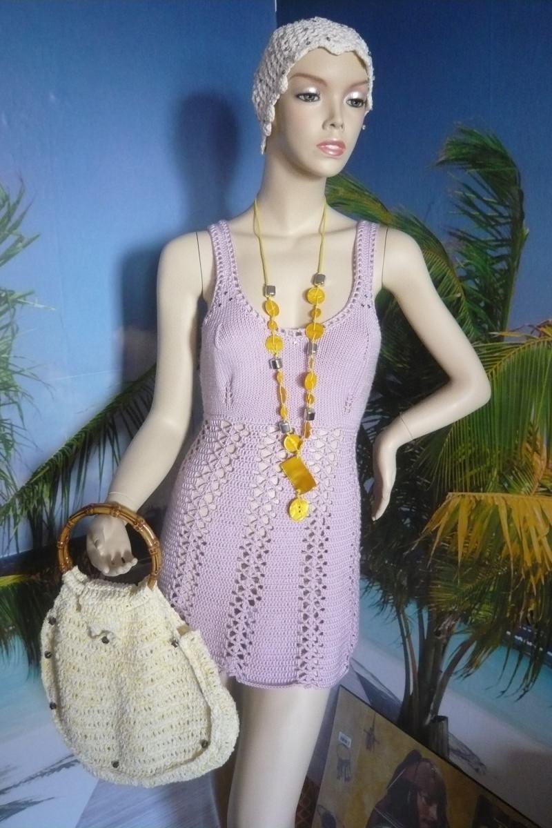 - Süßes zartlila  handgestricktes und gehäkeltes Kleid in Größe 34/36 - Süßes zartlila  handgestricktes und gehäkeltes Kleid in Größe 34/36