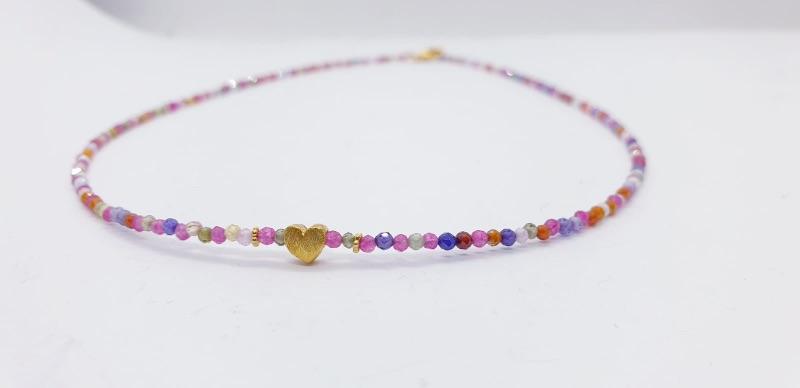 Kleinesbild - Schillernde Kristallkette aus buntem Zirkonia mit Rosenquarz, Rubin und vergoldetem 925er Silber
