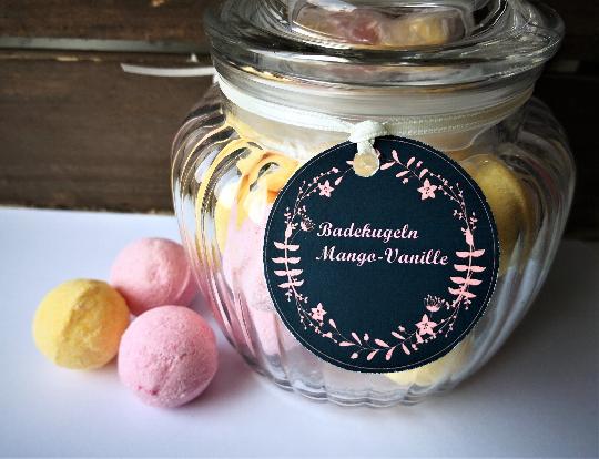 - Badekugeln/ Badebomben Mango-Vanille im Bonbonglas ,20 Minis  - Badekugeln/ Badebomben Mango-Vanille im Bonbonglas ,20 Minis