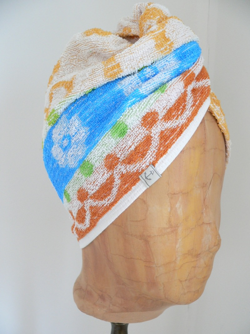 - Turban, Handtuchturban aus original altem Handtuch - Turban, Handtuchturban aus original altem Handtuch