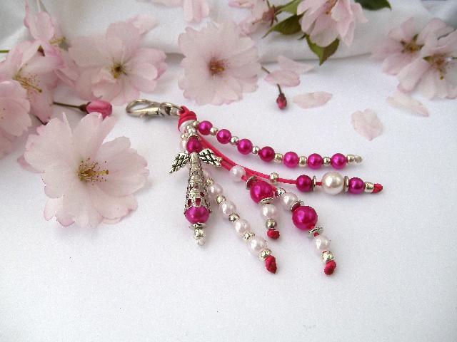 - Handgemachter Schlüsselanhänger mit Schutzengel Pink Weiß - Handgemachter Schlüsselanhänger mit Schutzengel Pink Weiß