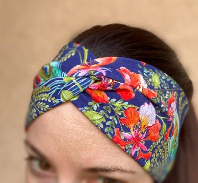 Kleinesbild - Stirnband Pfauenfeder und Blumen Marineblau Elastisch mit oder ohne Knoten