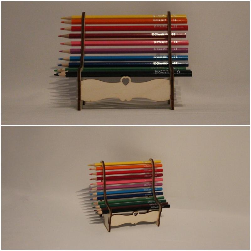 Kleinesbild - Stiftehalter Bank aus Holz gelasert inklusive 12 Buntstifte