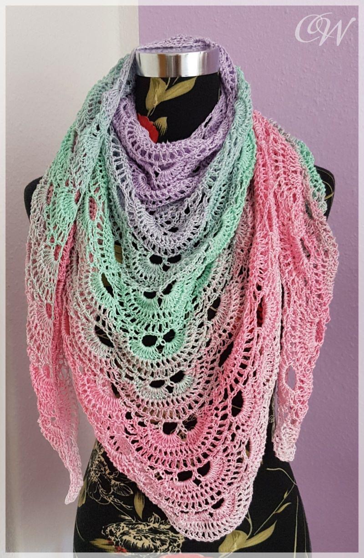 - Häkeltuch, Schultertuch mit farbverlauf in mädchenhaften Farben - Häkeltuch, Schultertuch mit farbverlauf in mädchenhaften Farben