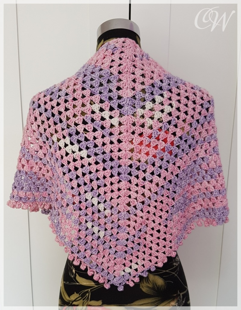 Kleinesbild - Häkeltuch, Stola, Schultertuch für Mädchen lila-rosa