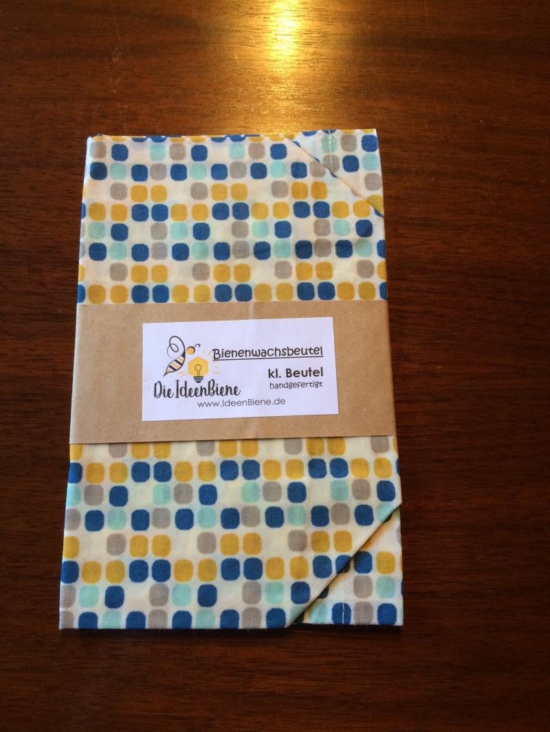 - Bienenwachsbeutel, Snacktüte blau-gelbe Punkte 100% Bienenwachs und Baumwolle - Bienenwachsbeutel, Snacktüte blau-gelbe Punkte 100% Bienenwachs und Baumwolle