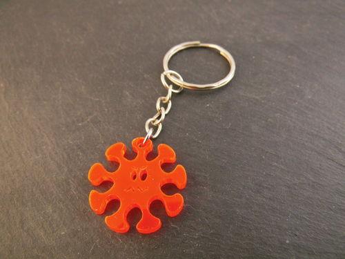 - Schlüsselanhänger Virus Männergrippe Neon Orange Rot fluoreszierend Taschenbaumler - Schlüsselanhänger Virus Männergrippe Neon Orange Rot fluoreszierend Taschenbaumler