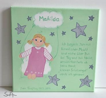 Schutzengelbild Schutzengel Bild Für Mädchen Geschenk Zur Taufe Geburt
