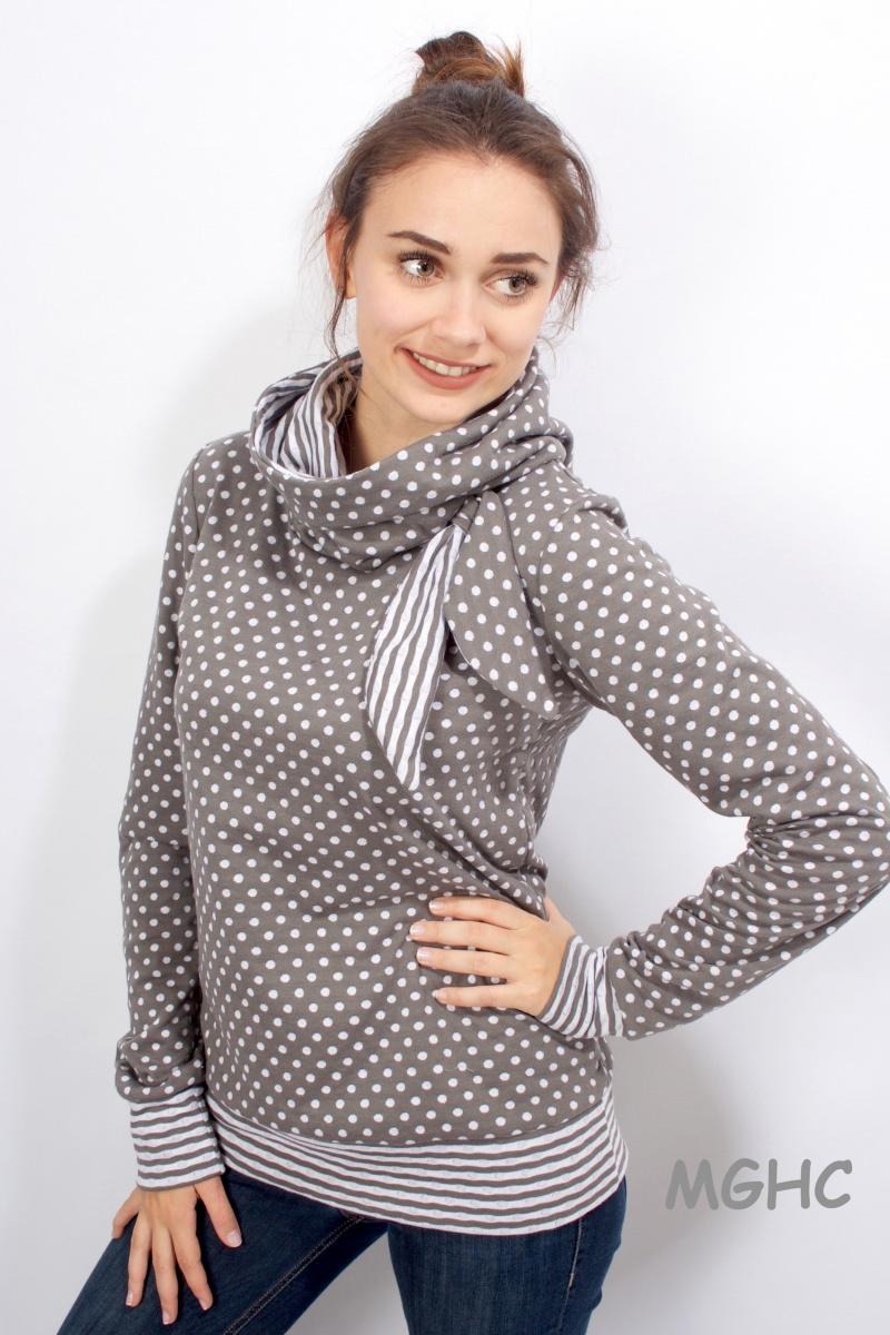 Kleinesbild - ♥︎Pulli COCO liebevoll von Hand genäht aus hochwertigen Feinstrick mit Punkten und Streifen Taupe Damen  in Grösse S/M/L/XL  bestellen ♥︎