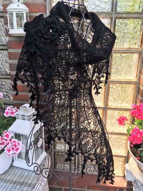 Kleinesbild -  Lacetuch *ROMANCE* in schwarz /oder mit Farbwahl / gestricktes Schultertuch
