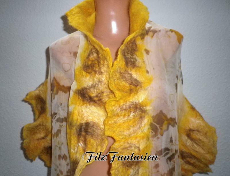 - Handgefärbter Nunofilzschal mit Rüschen, Seidenschal, Filzschal in Gelb - Handgefärbter Nunofilzschal mit Rüschen, Seidenschal, Filzschal in Gelb