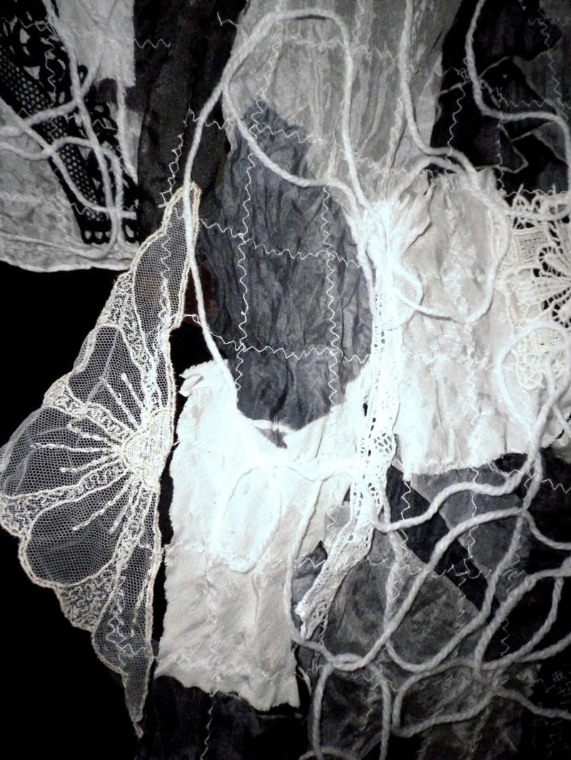 Kleinesbild - Patchworkschal, Crazy Patchwork, Seidenschal in Schwarz-Weiß, Halstuch