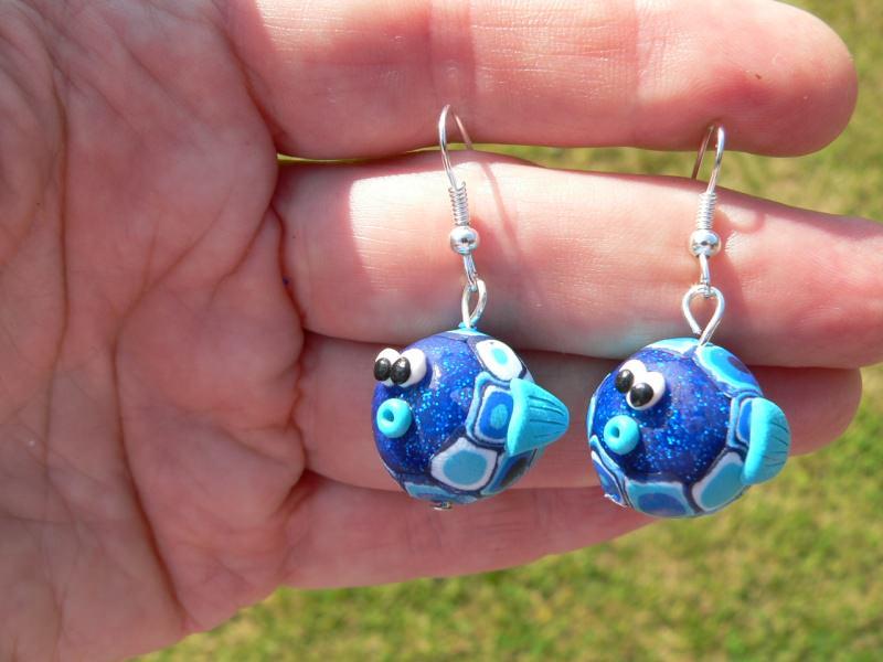 Kleinesbild -  Ohrhänger Fische handmodelliert Ohrringe aus Fimo Polymer clay