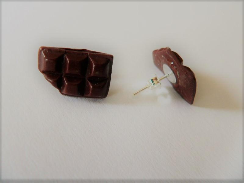 - Schokolade angeknabbert Ohrstecker Ohrringe handmodelliert aus Fimo   - Schokolade angeknabbert Ohrstecker Ohrringe handmodelliert aus Fimo