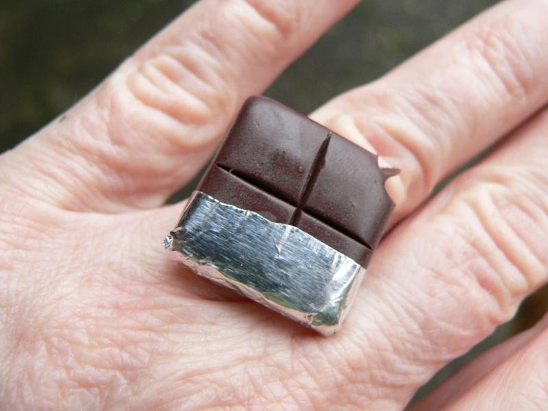 Kleinesbild -  Ring Schokolade aus Fimo handmodelliert  Fingerring aus Polymer Clay